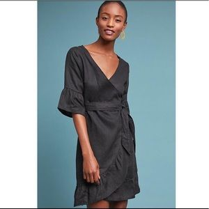 🆕NWT Anthropologie 100% linen wrap dress